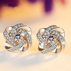 Stunning sparkle 925 Silver Stud Crystal Earrings